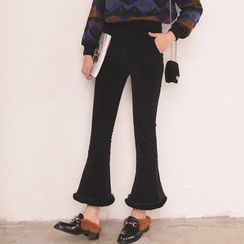 SUYISODA - Furry Hem Boot-Cut Pants