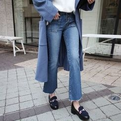 Seoul Fashion - Pocket-Front Boot-Cut Jeans