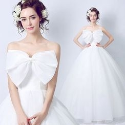 Angel Bridal - Bow-Accent Wedding Dress