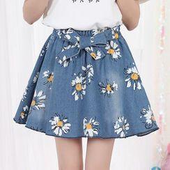 Fairyland - Floral Print A-Line Denim Skirt