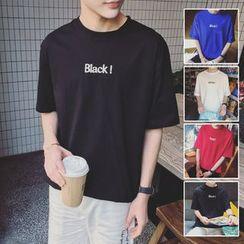 Breeson - Short-Sleeve Lettering T-Shirt