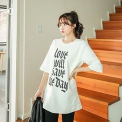 Seoul Fashion - Elbow-Sleeve Lettering Cotton T-Shirt