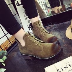 Wello - Block Heel Lace-Up Ankle Boots