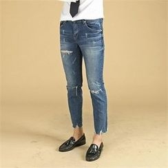 THE COVER - Distressed Paint-Splatter Jeans