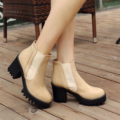 Pastel Pairs - Gusset Chunky Heel Platform Ankle Boots