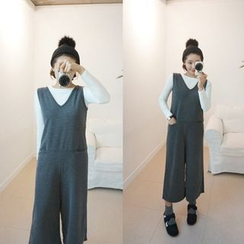 STYLEBYYAM - V-Neck Sleeveless Wide-Leg Jumpsuit