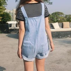 VeryBerry - Pocketed Dungaree Shorts