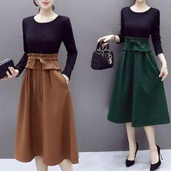 Lavogo - Mock Two-Piece Midi Dress