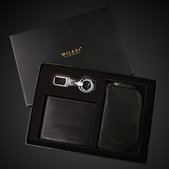 MILESI - Set : Genuine Leather Wallet + Keychain + Coin Purse