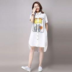 Salisha - Printed Short Sleeve Side Split Shirt Dress