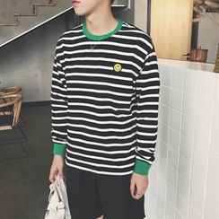 Soulcity - Embroidered Striped Sweatshirt