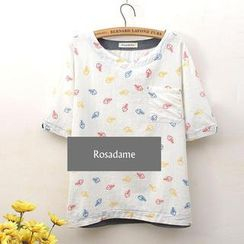 Rosadame - Fish Bone Print T-Shirt