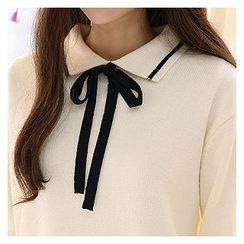 Sechuna - Tie-Front Contrast-Trim Knit Top