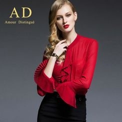 Aision - Pleated Blouse / Pencil Skirt