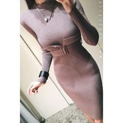 ATTYSTORY - Belted Rib-Knit Bodycon Dress