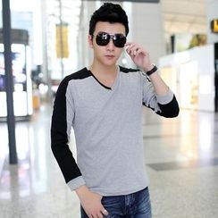 SICRIT - Colour Block V-neck Long-Sleeve T-shirt