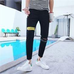 JVR - Strap Detail Slashed Slim-Fit Jeans