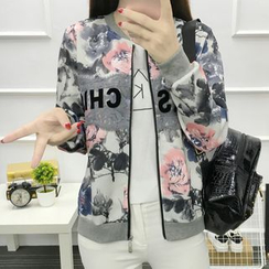 Lovebirds - Lettering Floral Baseball Jacket
