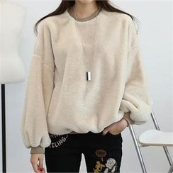 CHICFOX - Puff-Sleeve Coral-Fleece Sweatshirt