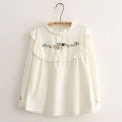 TOJI - Long-Sleeve Frilled-Trim Embroidered Blouse