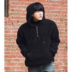 ABOKI - Hooded Brushed-Fleece Pullover