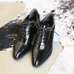 NANING9 - Faux-Leather Pointy Oxfords