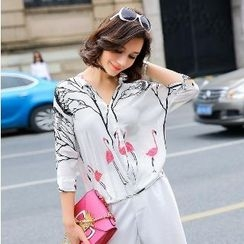 Romantica - 3/4-Sleeve Printed Silk Blouse