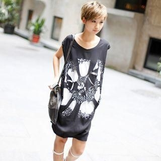 Smile.Hotel - Sleeveless Printed Chiffon Dress