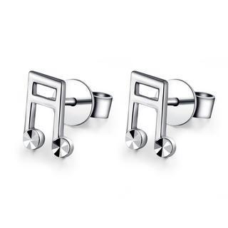 MaBelle - 14K White Gold Diamond-Cut Music Symbol Beamed Note Stud Earrings