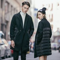 Simpair - Couple Matching Notch Lapel Padded Long Jacket
