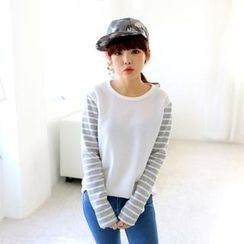 Cocopop - Brushed Fleece Lined Stripe-Sleeve Top