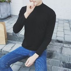 SICRIT - Plain Mock-neck Long-Sleeve T-shirt