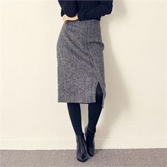 MAGJAY - Wool Blend Slit-Detail Herringbone Skirt