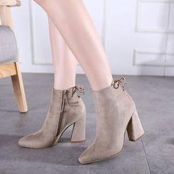 Monde - Zip Velvet Short Boots