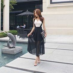 DABAGIRL - Suspender Chiffon Maxi Skirt