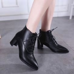Monde - Block Heel Pointed Ankle Boots