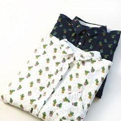 兰芝 - 仙人掌印花长款衬衫