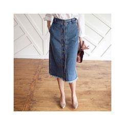 MASoeur - Button-Front Denim Midi Skirt