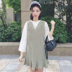 Dute - Ruffle Hem Mock Two-Piece Dress