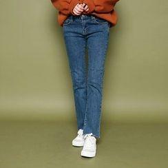 Envy Look - Fray-Hem Boot-Cut Jeans