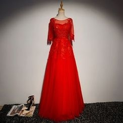 Miss D - Embellished Lace Panel Elbow-Sleeve Evening Gown