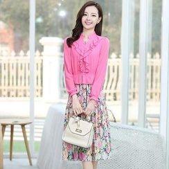 AiSun - Inset Ruffle Blouse Floral Chiffon Dress