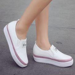 Shoes Galore - Contrast Trim Platform Slip-Ons