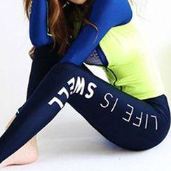 Sewwi - 套裝: 插色防曬衣 + 泳褲 + 坦基尼上衣