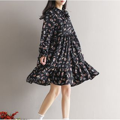 Viana Smile - Maternity Printed Long Sleeve Chiffon Dress