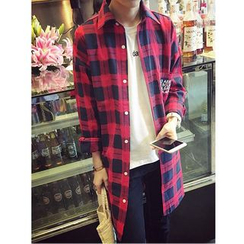 Bay Go Mall - Lettering Plaid Shirt