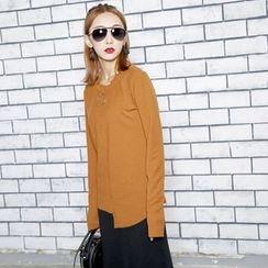 Sonne - Ring-Accent Long Sleeve Asymmetric T-Shirt