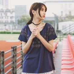 微米家 - 碎花蕾丝边短袖T恤