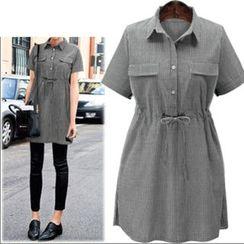 VIZZI - Short Sleeve Drawstring Shirt Dress