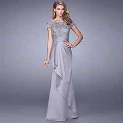 Angel Bridal - Short-Sleeve Paneled Evening Gown